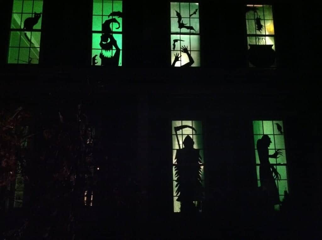 diy halloween haunted house silhouettes