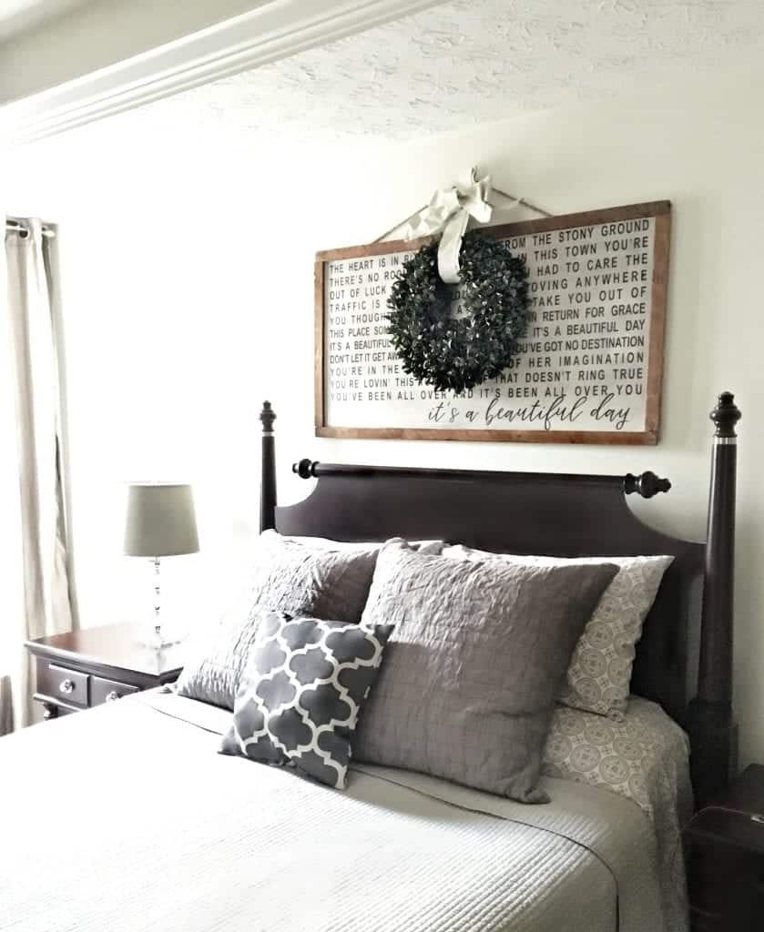 Master Bedroom with U2 Beautiful Day Sign