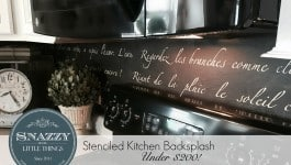 """DIY Stenciled Kitchen Backsplash """"Springtime in Paris"""" Sonnet by SnazzyLittleThings.com"""