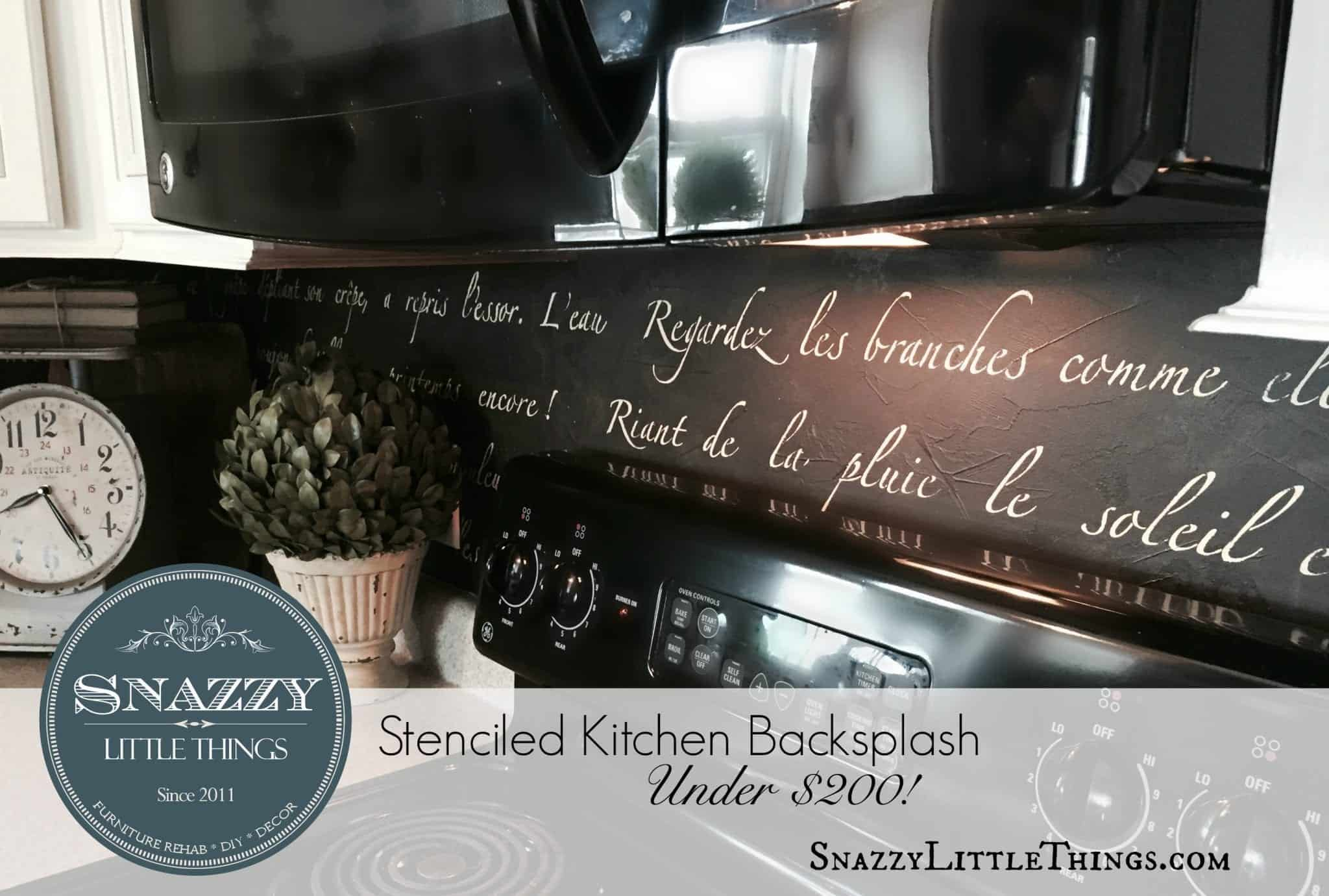 "DIY Stenciled Kitchen Backsplash ""Springtime in Paris"" Sonnet by SnazzyLittleThings.com"