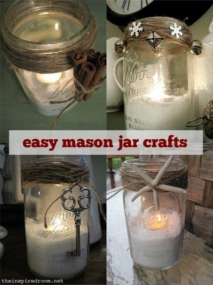 One of my favorite blogs, The Inspired Room - check out Melissa's round up of Mason Jar DIY projects