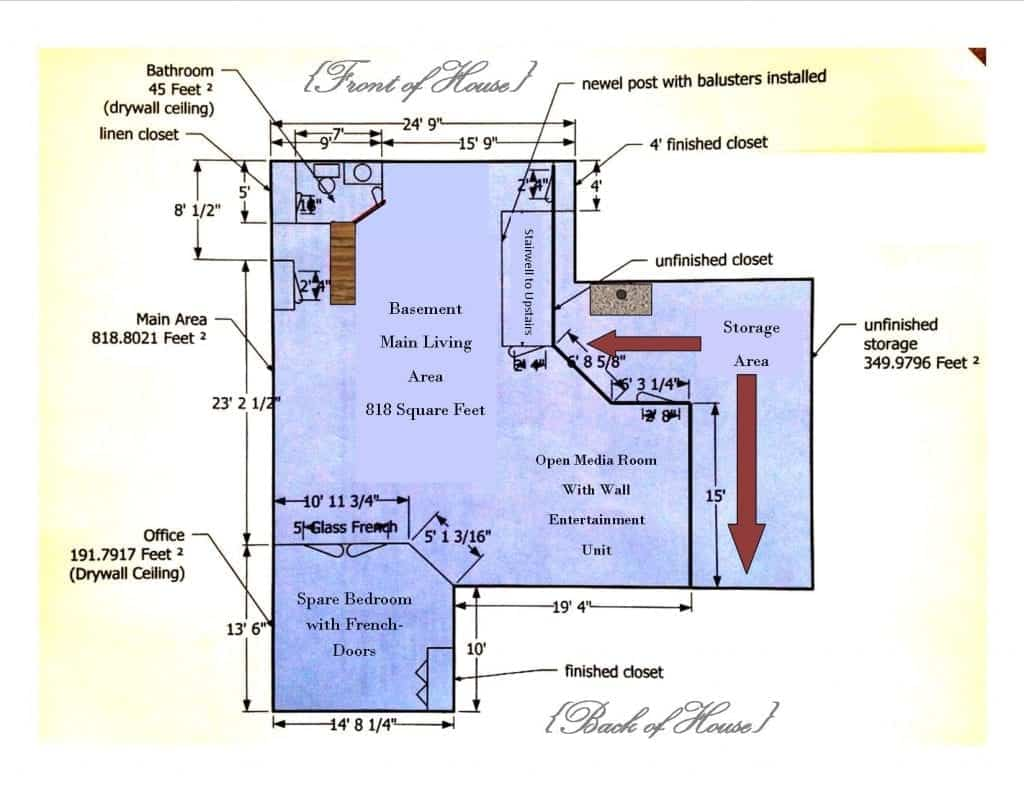 Ryan Homes Esquire Floor Plan (Basement Elevation)