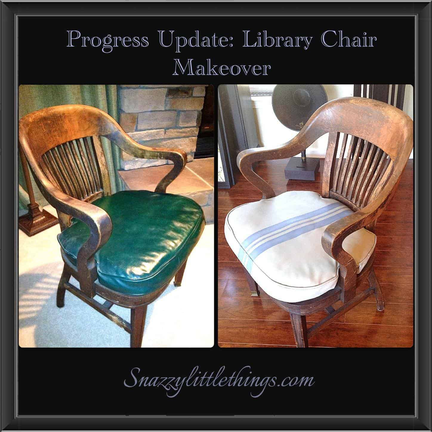 Painted Leather Library Chair