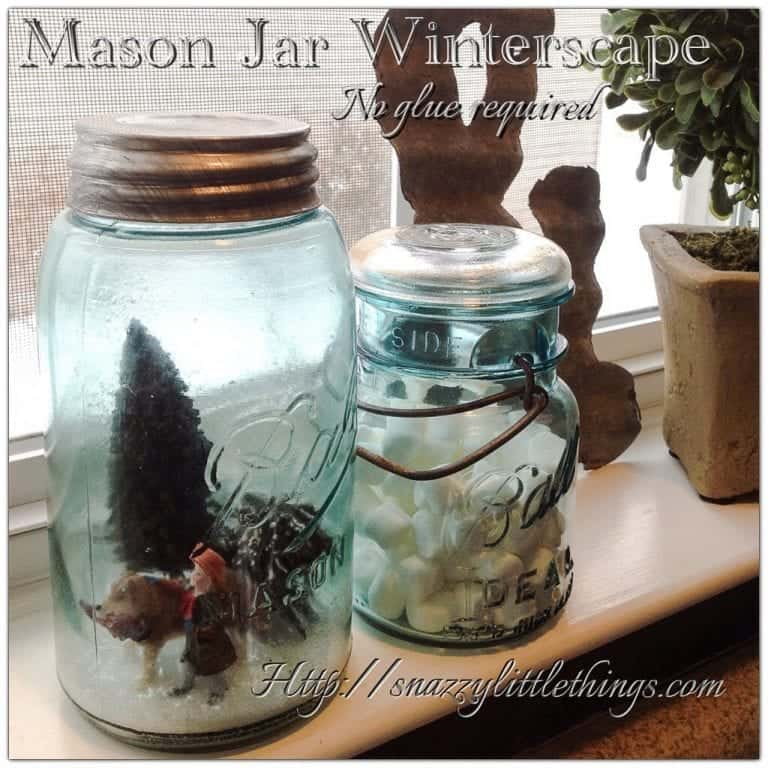 Mason Jar Winterscape, No Glue Required