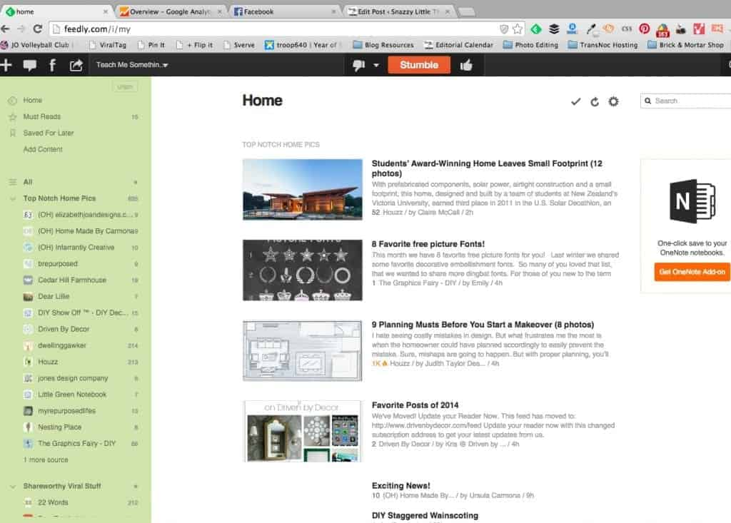 Feedly Feed for Blogging
