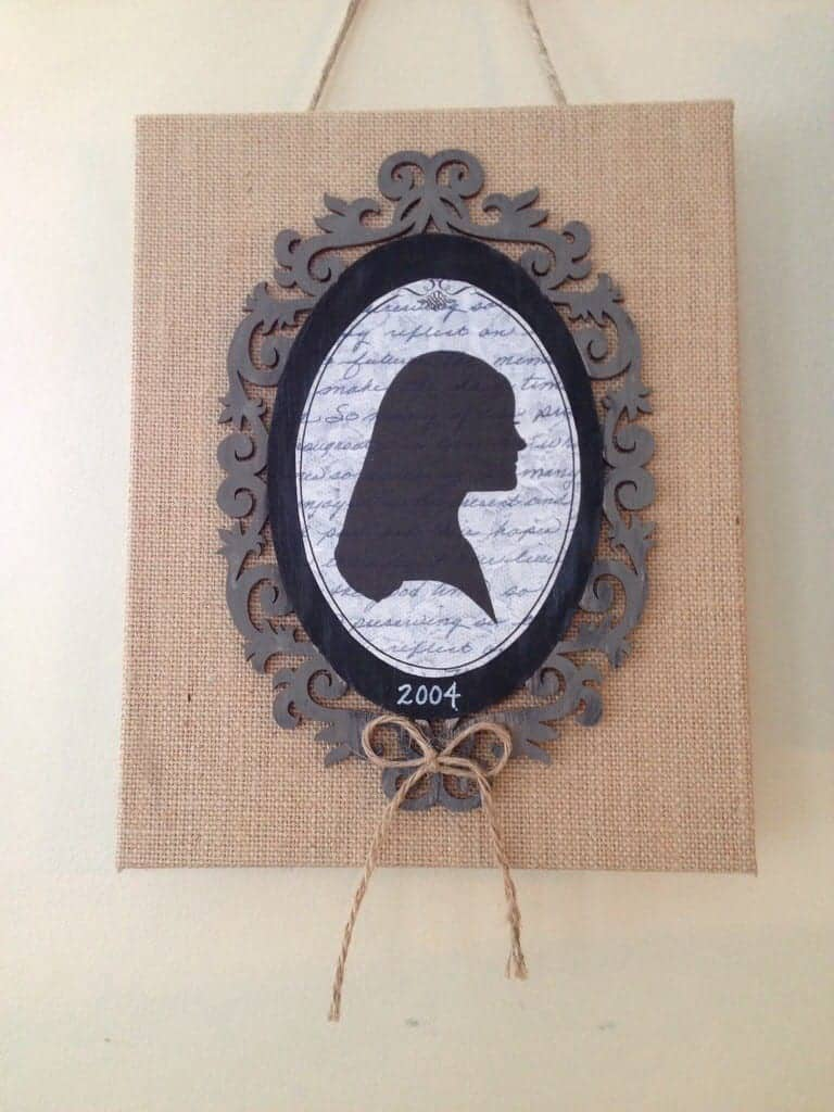 Project #2:  Simple Burlap Canvas with my daughter's silhouette.
