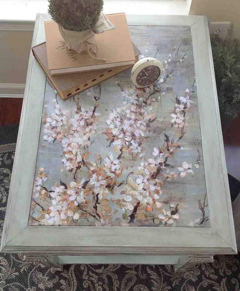 upcycled table with decoupage