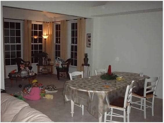 "Before: Shortly after we moved in. The table and chairs were my first investment pieces. (I still have them). See my baby girl playing with her ""Bob the Builder"" hard hat on? That's my girl! :)"