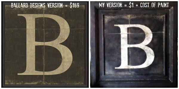 ballard inpsired B monogram art side by side