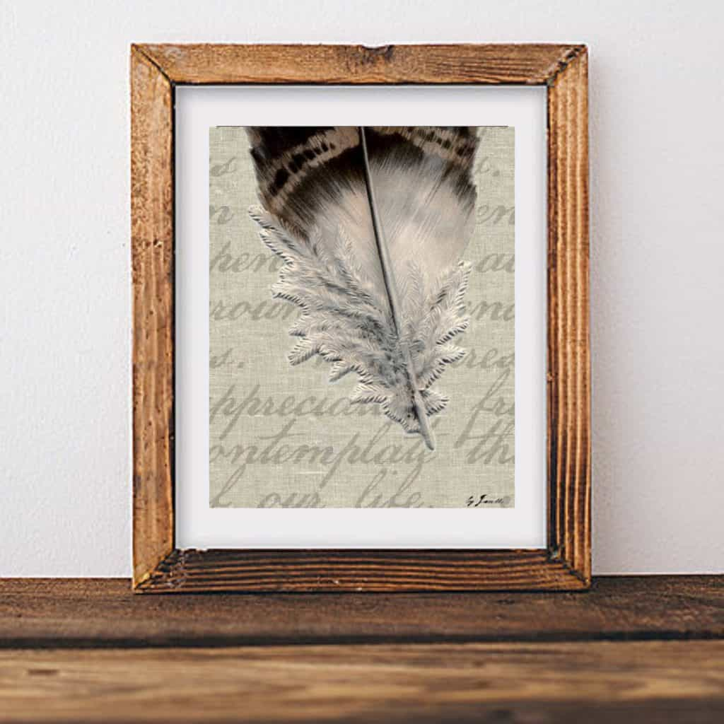 mixed media feather art by snazzy little things
