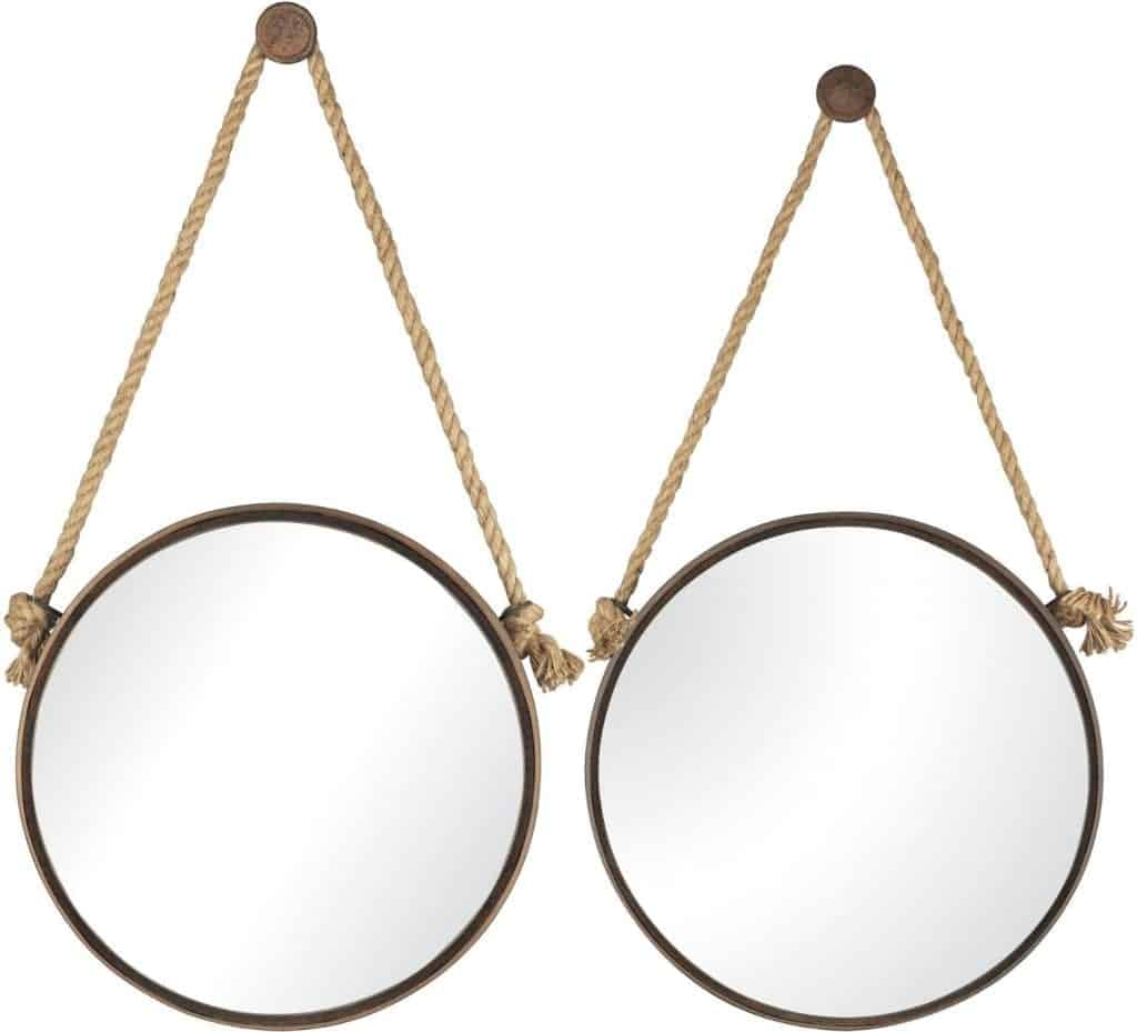 Sterling 53-8502 Iron Holder Mirrors on Rope, Round, Rust, Set of 2