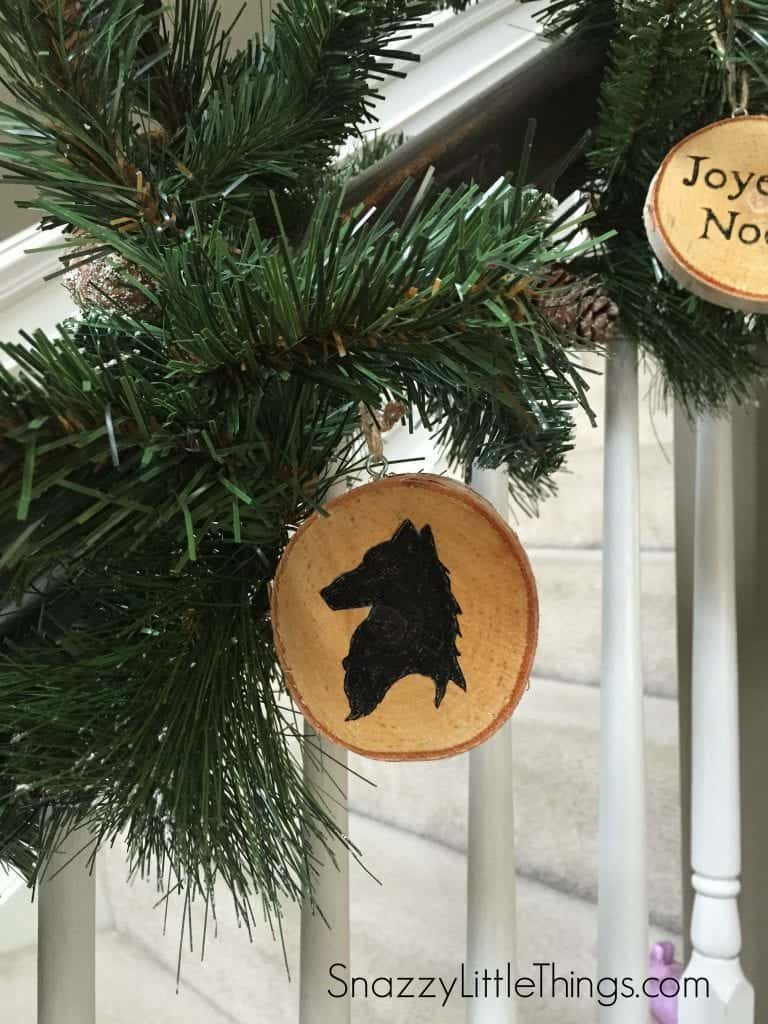 Birch Wood Painted Christmas Ornaments at SnazzyLittleThings.com