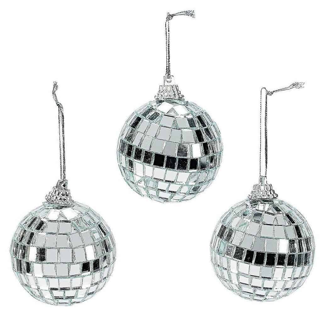 Box of 12 Silver Disco Ball Ornaments