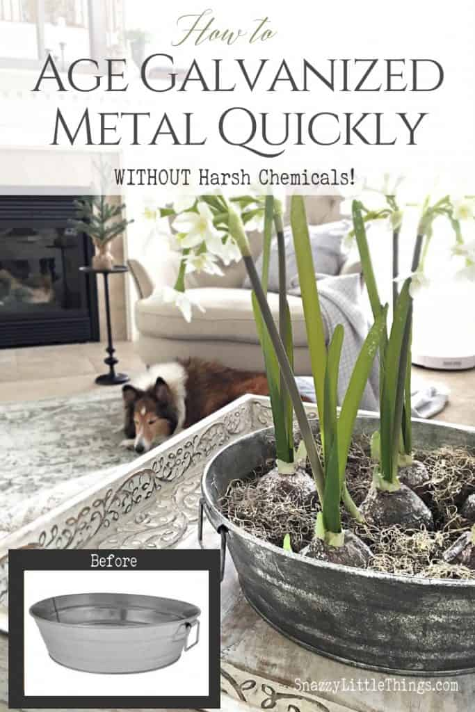 How to Age Galvanized Metal Quickly Without Chemicals #farmhousestyle #diy Interior Decorating Home Decorating