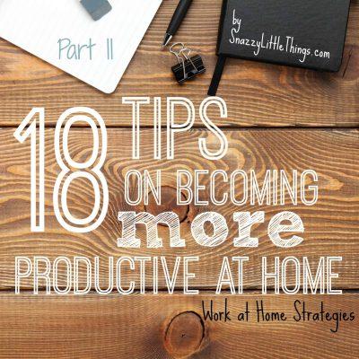 Part II: Work at Home Strategies