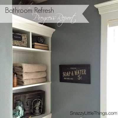 Bathroom Remodel: new paint + built-ins + Levolor blinds - by SnazzyLittleThings.com