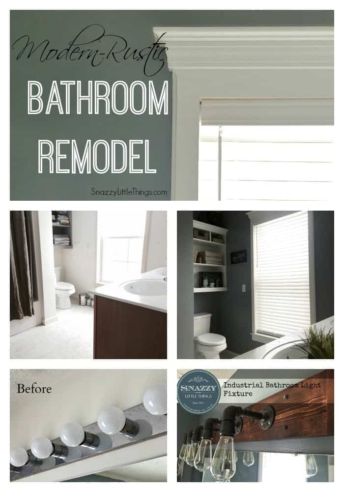 Modern Rustic Bathroom Remodel - by SnazzyLittleThings.com