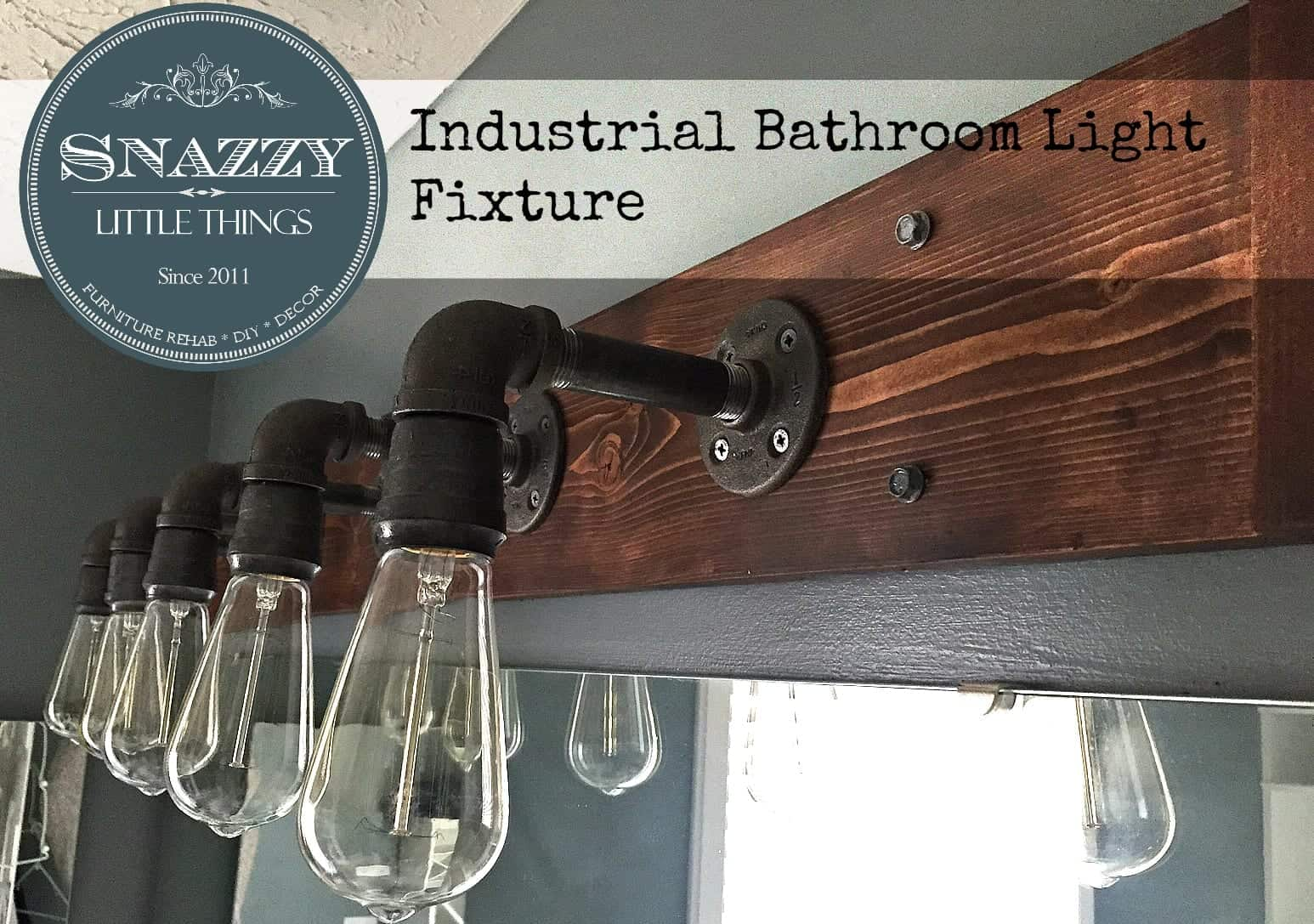 Industrial bathroom fixtures - Diy Industrial Bathroom Light Fixture By Snazzylittlethings Com