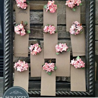 DIY Wedding Seating Chart (made from an empty picture frame) - By SnazzyLittleThings.com