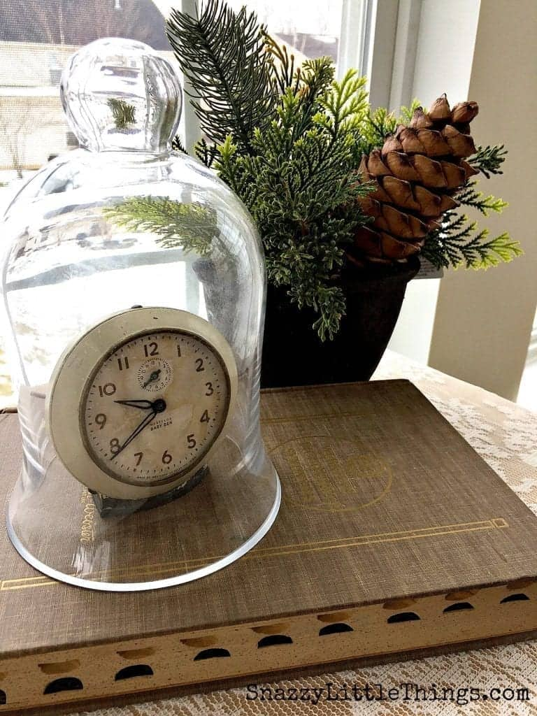 Winter Decorating Ideas - Old Clock Under Cloche with Evergreens