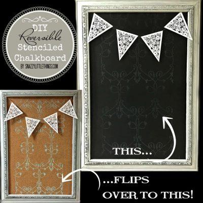 Reversible Stenciled Chalkboard + Corkboard
