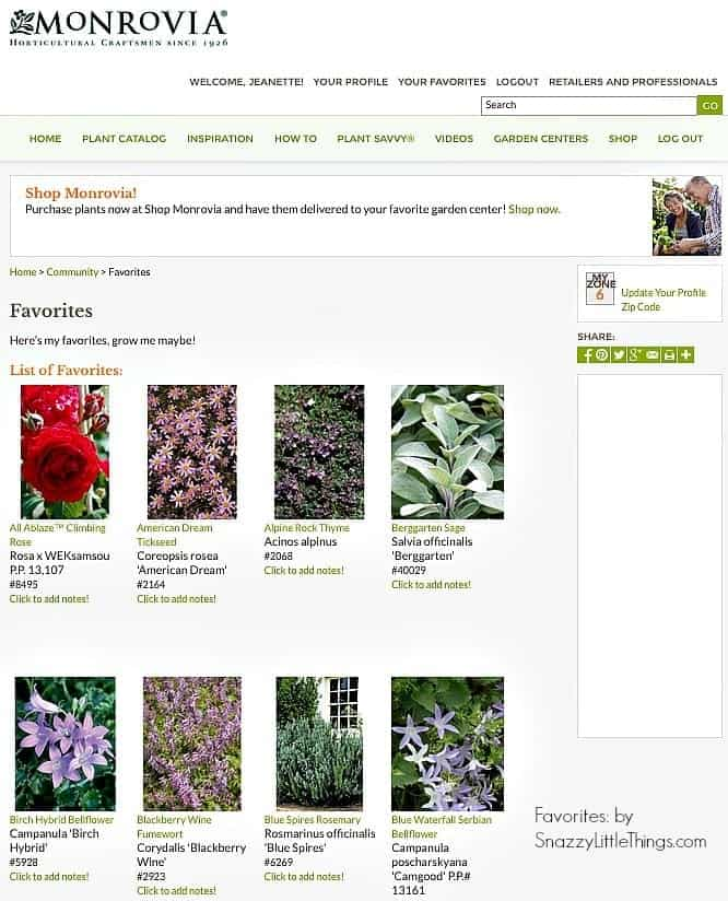 Monrovia Online Plant Guide by SnazzyLittleThings.com