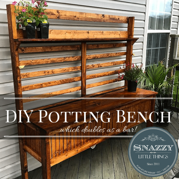DIY Potting Bench by SnazzyLittleThings.com