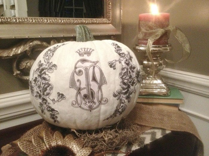 Fall Home Tour 2015 - Painted Decoupage Pumpkin