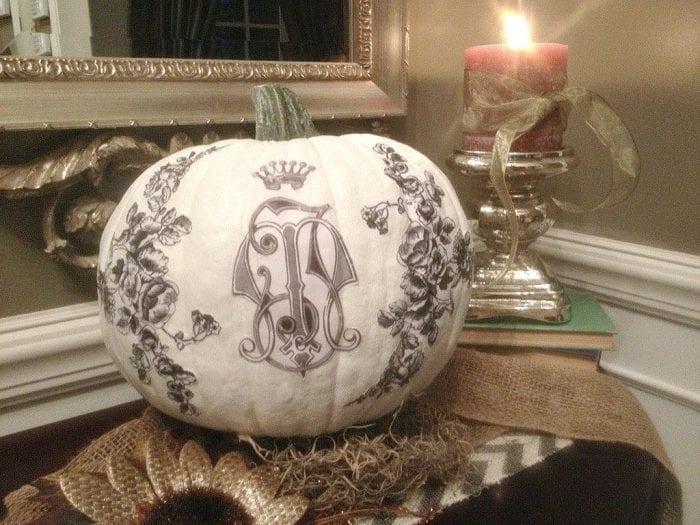 Fall Home Tour 2015 - Painted Decoupage Pumpkin