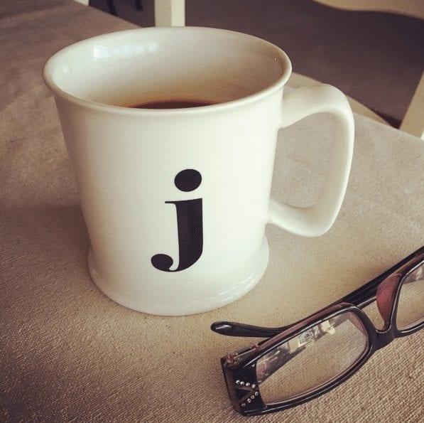 monogrammed coffee cup J