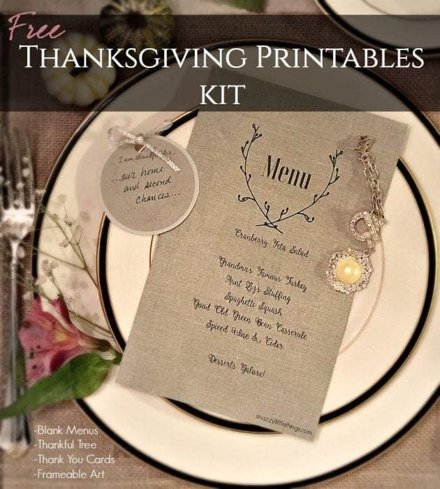 Thanksgiving Printables Kit Linen