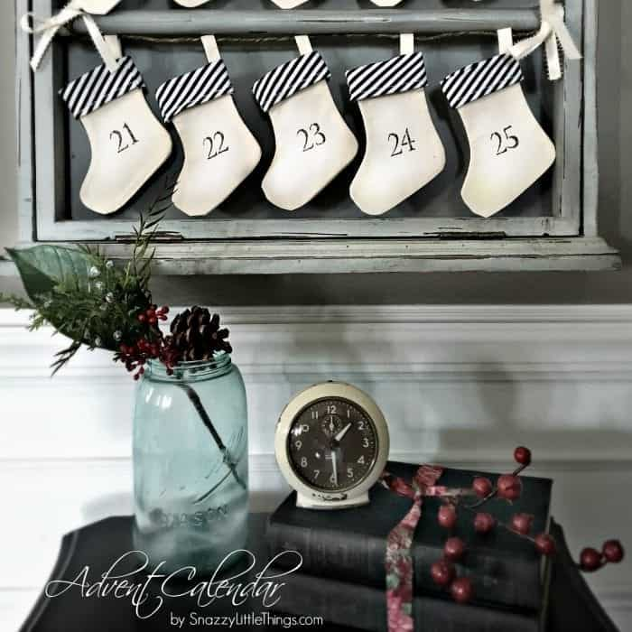 Advent Calendar with Vignette, Holiday Home Tour 2015 by SnazzyLittleThings.com