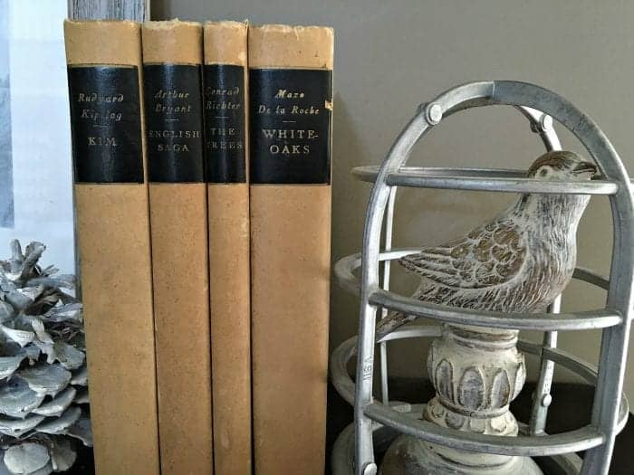 Antique Books Vignette, Holiday Home Tour 2015 by SnazzyLittleThings.com