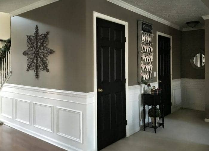Newly Painted Black Interior Doors, Holiday Home Tour 2015 by SnazzyLittleThings.com