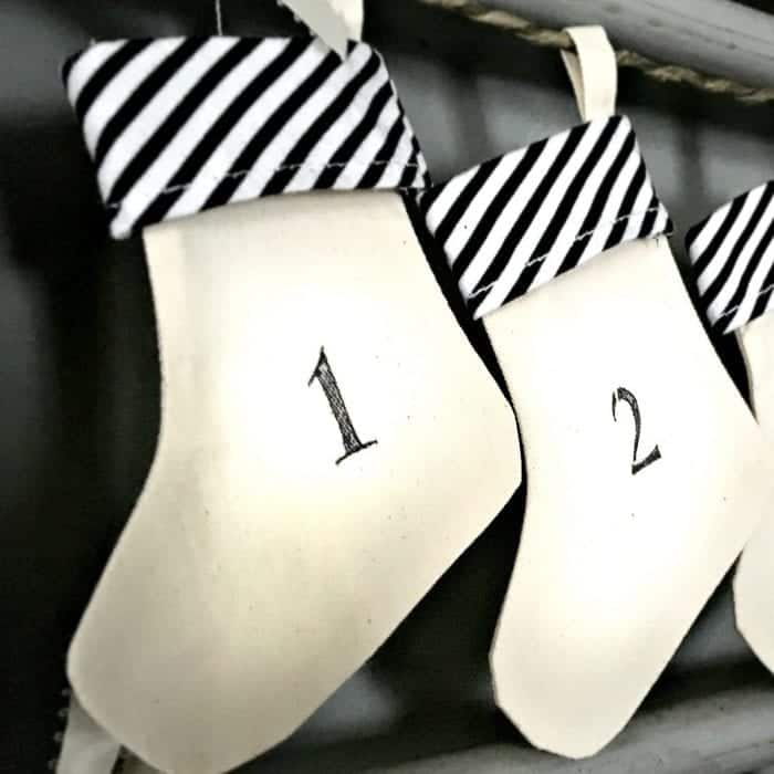Upcycled Advent Calendar Stenciled Stockings Close up
