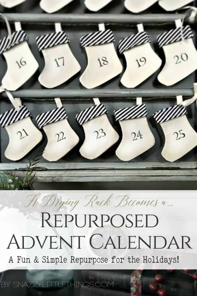 DIY Advent Calendar Repurposed from a Drying Rack by Snazzy Little Things