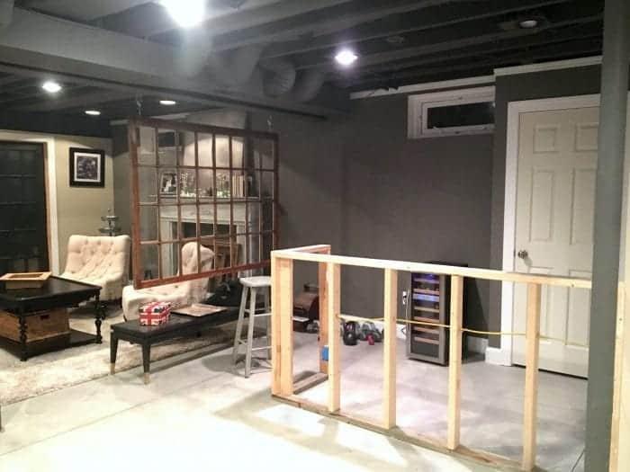 Unfinished bar industrial basement