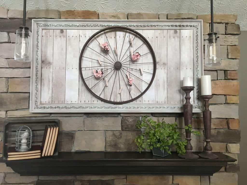 Bicycle wheel mantel display by SnazzyLittleThings.com