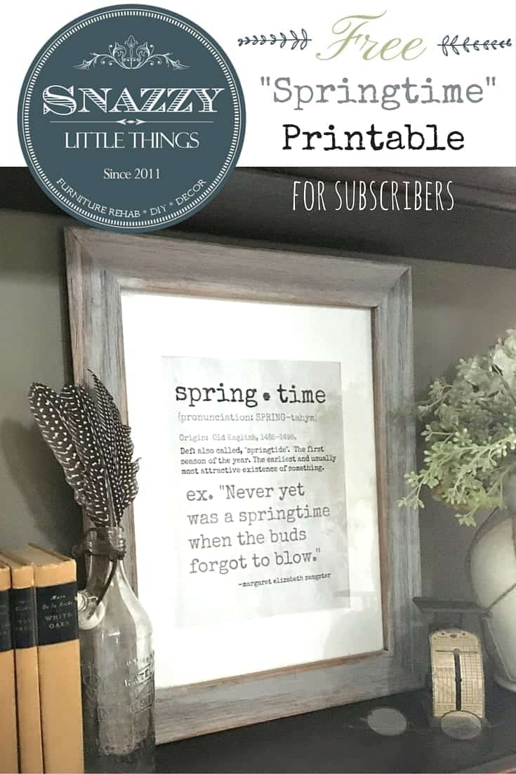 Free Springtime Printable for subscribers of SnazzyLittleThings.com