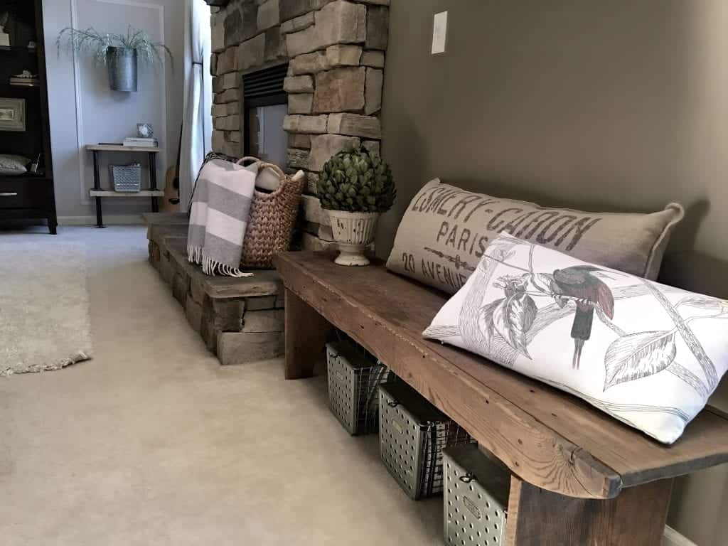 Old Bench in Family Room by SnazzyLittleThings.com