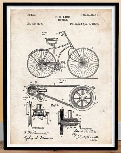 Patent Drawing Bicycle Framed