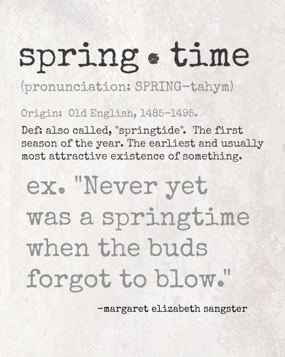 Springtime Quote Definition Printable