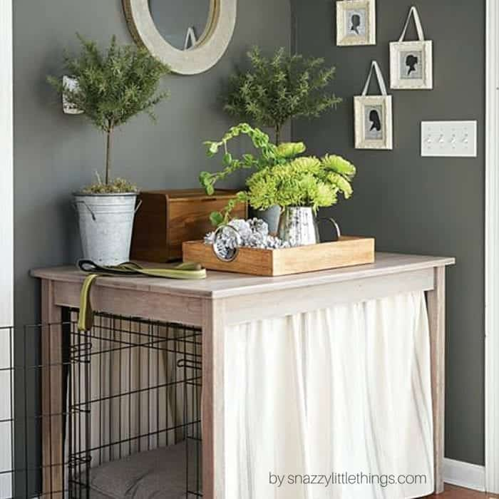 diy dog crate table with free plans - Wooden Dog Crate End Tables