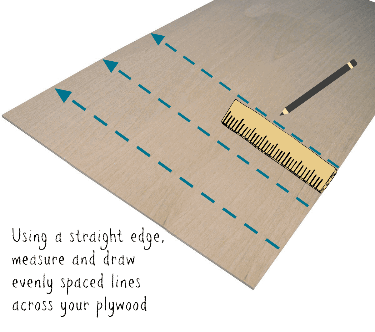 DIY Faux Shiplap Using a Dremel Tool - Plywood Drawing