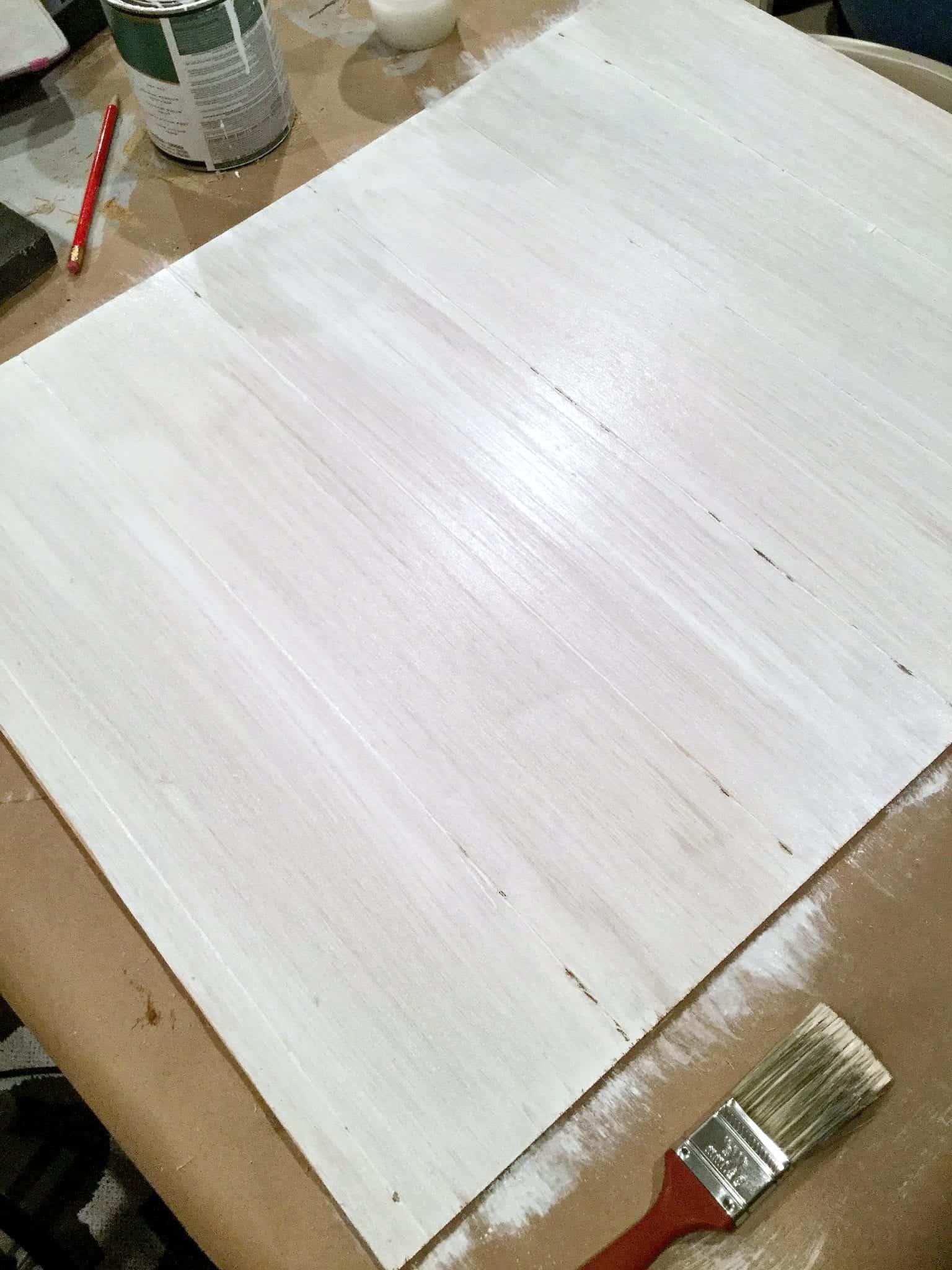 DIY Faux Shiplap Using A Dremel Tool-Apply a Whitewash Paint Effect