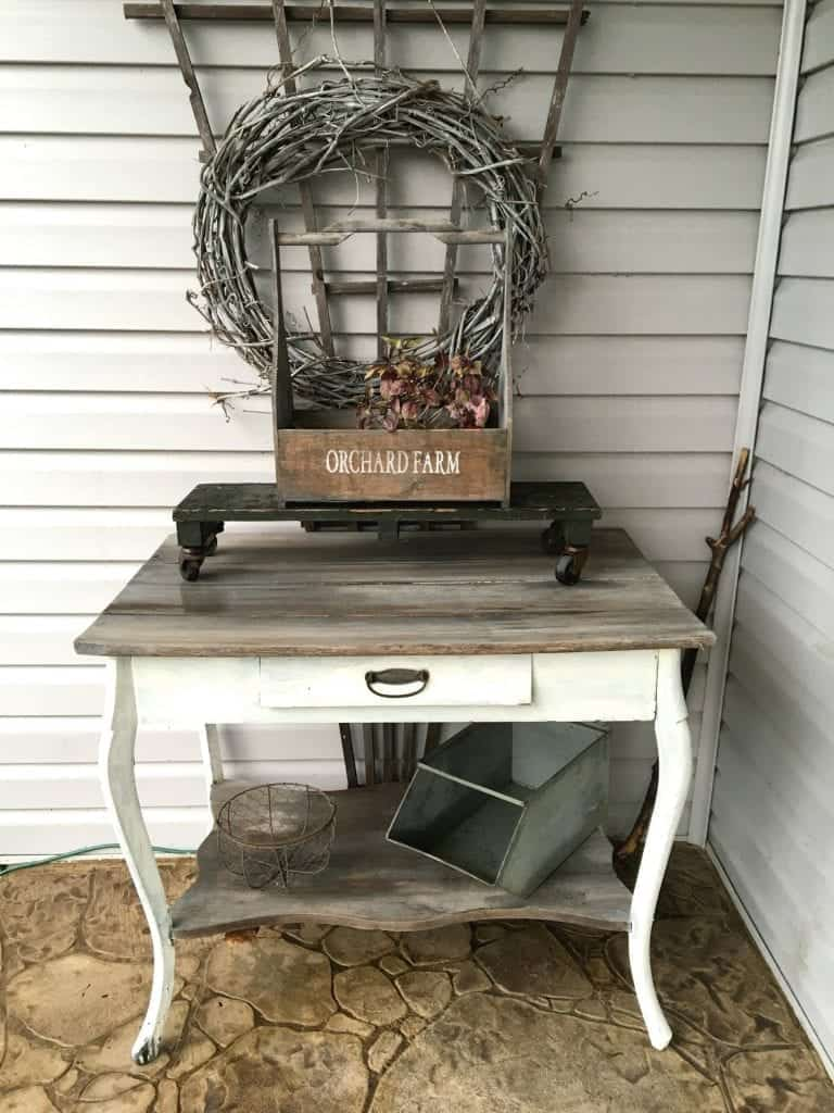 Vintage Table as Potting Bench by SnazzyLittleThings.com
