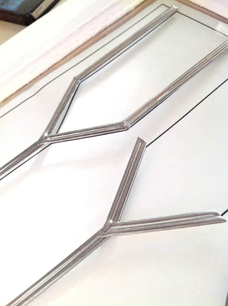 DIY Faux Leaded Glass Installing the Metal Strips