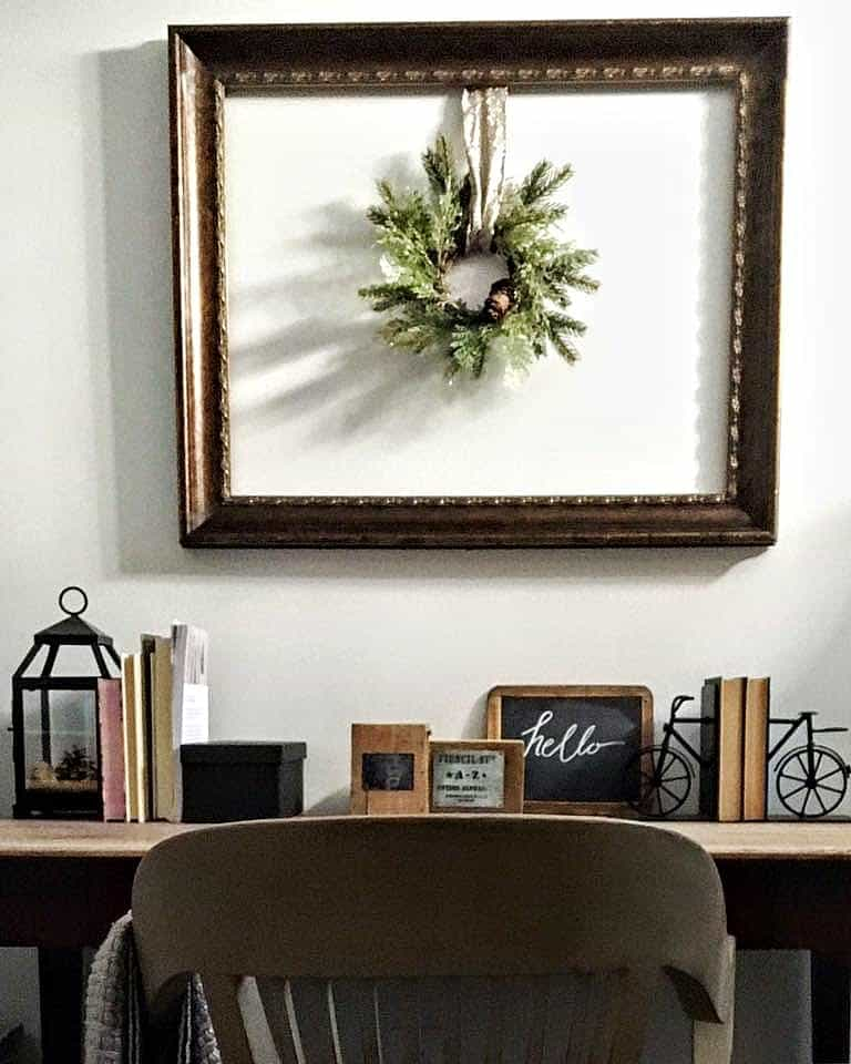 Old Frame with Wreath, office decorating ideas with thrifted items