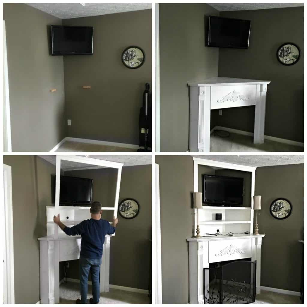 DIY Corner Fireplace Mantel Collage