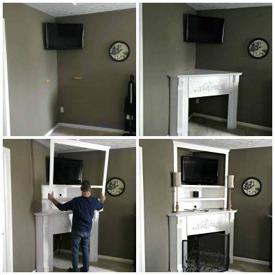 DIY Corner Fireplace Mantel Collage